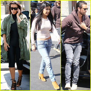 Kim & Kourtney Kardashian Bring the Kids Roller Skating