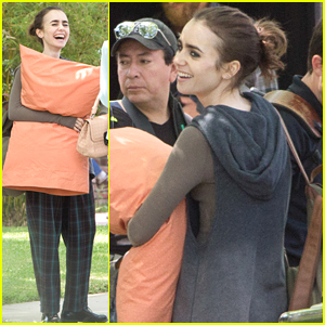 Lily Collins Makes Horse Friend on 'To The Bone' Set