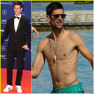 Novak Djokovic Goes Shirtless in the Water Before Laureus World Sports Awards
