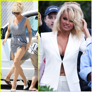 Pamela Anderson Arrives on the Set of 'Baywatch'