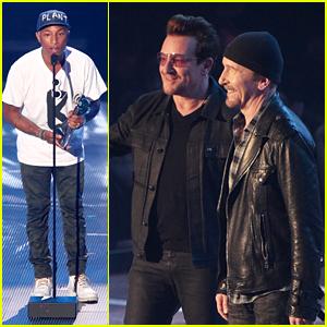 Pharrell Williams Presents Innovator Award to U2 at iHeartRadio Music Awards 2016