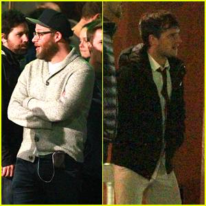 Seth Rogen & Josh Hutcherson Film Explosion Scene for 'Future Man'