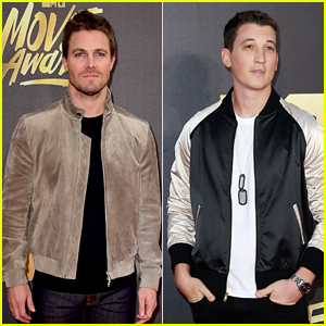 Stephen Amell & Miles Teller Arrive to Present at MTV Movie Awards 2016