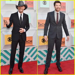 Tim McGraw & Brett Eldredge Walk the Carpet at ACM Awards 2016