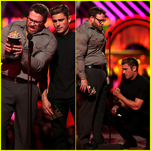 Zac Efron Apologizes to Seth Rogen's Privates at MTV Movie Awards 2016 - Watch Now!