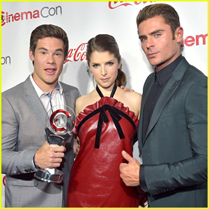 Zac Efron, Anna Kendrick, & Adam Devine Win Comedy Stars Award at CinemaCon 2016!