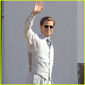 Brad Pitt Wears a White Suit for 'Allied' Filming in Spain