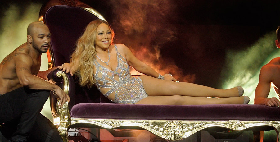 Mariah Carey Wears Almost Nothing Gets Carried On Stage