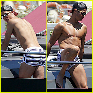 Cristiano Ronaldo Shows Off His Shirtless Ripped Physique in Ibiza