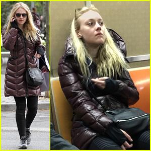 Dakota Fanning Takes a Ride on the NYC Subway