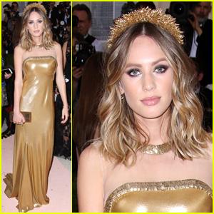 Dylan Penn Shines in Gold DVF Dress at Met Gala 2016