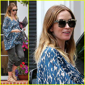 Emily Blunt Dresses Baby Bump in Print Top on Errand Run