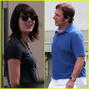 Emma Stone & Steve Carell Film 'Battle of the Sexes' Together