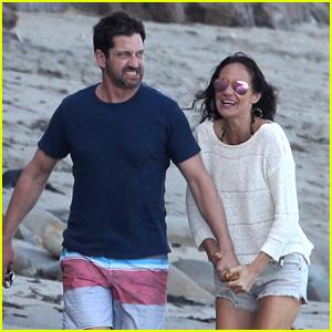 Gerard Butler & Girlfriend Morgan Brown Spend Sunday at the Beach