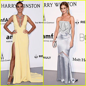 Heidi Klum & Rosie Huntington-Whiteley Stun on amfAR Red Carpet in Cannes!