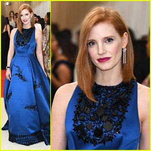 Jessica Chastain Wears Peacock Blue Prada to Met Gala 2016