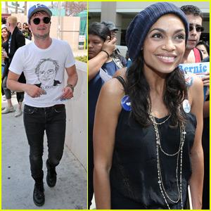 Josh Hutcherson & Rosario Dawson Campaign for Bernie Sanders