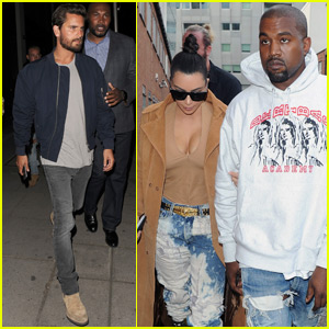 Kim Kardashian & Kanye West Bump into Scott Disick in London