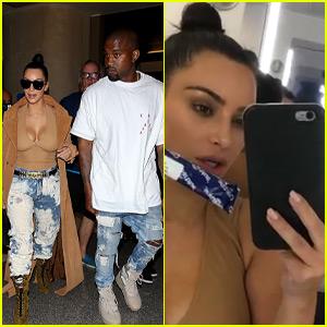 Kim Kardashian Takes Pregnancy Test in Airplane Bathroom & Shares Video on Snapchat