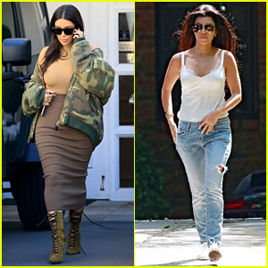 Kim & Kourtney Kardashian Make Separate Mid-Week Outings