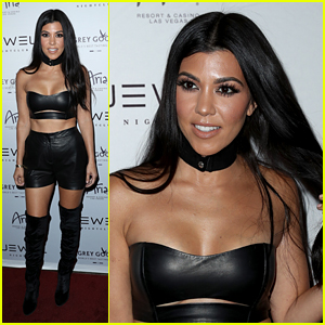 Kourtney Kardashian Heats Up Club Opening in Leather Look