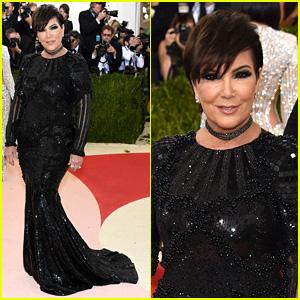Kris Jenner Goes Classic in Black Balmain at Met Gala 2016