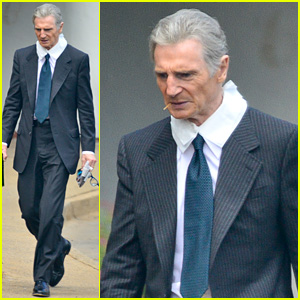 Liam Neeson Sports Completely Gray Hair & Slim Look On Set