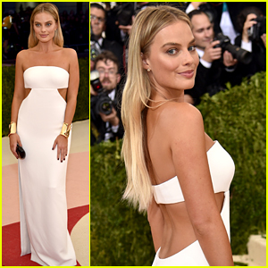 Margot Robbie Stuns in White Cut-Out Dress at Met Gala 2016