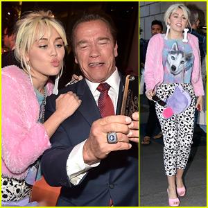 Miley Cyrus Hangs with Her Ex's Dad Arnold Schwarzenegger