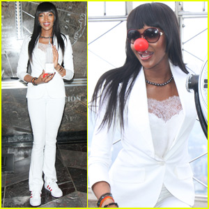 Naomi Campbell Shows Her Support for Red Nose Day at the Empire State Building