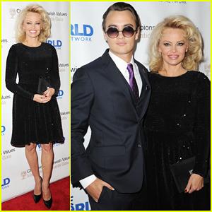 Pamela Anderson Brings Son Brandon As Date At Champions Of Jewish Values Gala!
