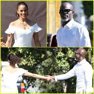 Paula Patton & Djimon Hounsou Share Cute Moment at 'Extra'