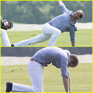 Prince William Does Yoga Stretches Before Polo Match