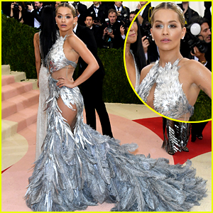 Rita Ora Shows Skin in Feathered Gown at Met Gala 2016!