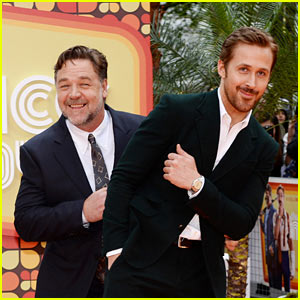 Ryan Gosling & Russell Crowe Goof Off at 'The Nice Guys' UK Premiere