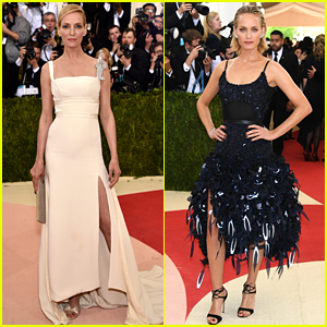 Uma Thurman & Amber Valletta Step Out at Met Gala 2016