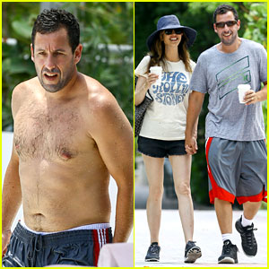 adam sandler goes shirtless for miami trip with wife