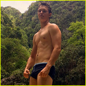 Ansel Elgort Bares Ripped Body While Shirtless in Thailand