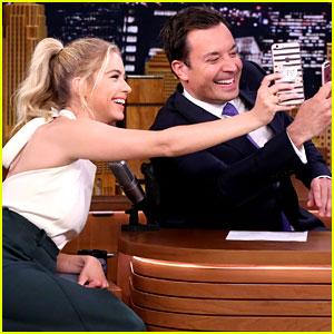 Ashley Benson Snapchats Simultaneously with Jimmy Fallon!
