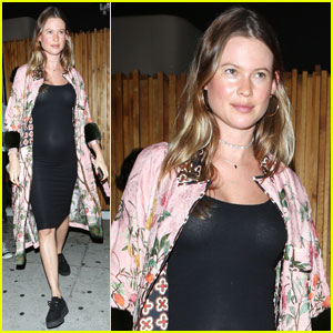 Behati Prinsloo Shows Off Baby Bump in Sheer Black Dress