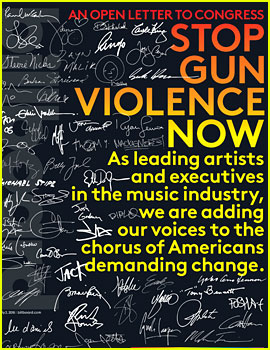 Nearly 200 Celebrities Sign Billboard's Open Letter to Congress for Gun Control