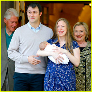 Chelsea Clinton & Family Leave Hospital with Baby Aidan!