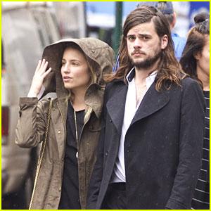 Dianna Agron & Fiance Winston Marshall Walk In Rainy NYC