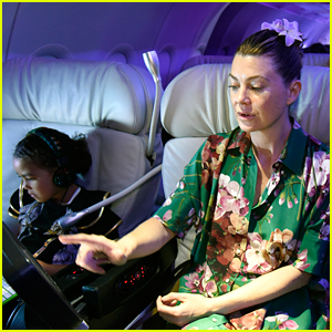 Ellen Pompeo & Daughter Stella Fly the Skies With Virgin America