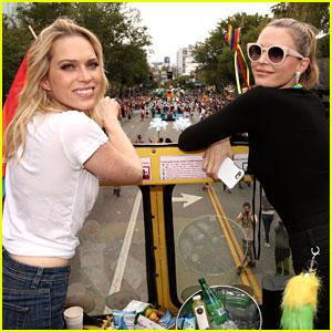 Erin & Sara Foster Ride 'Barely Famous' Bus in LA Pride Parade!
