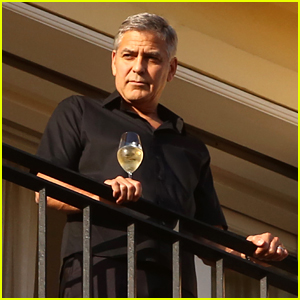 George Clooney Enjoys View from Balcony in Rome
