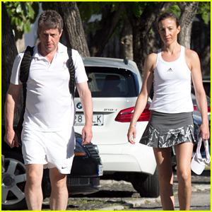 Hugh Grant Hits Tennis Court With Anna Eberstein