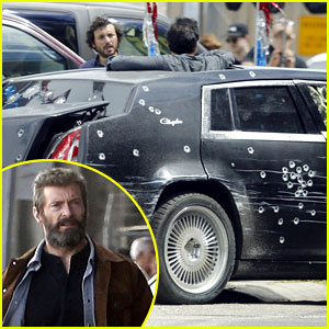 Hugh Jackman Escapes Bullet-Ridden Limo for 'Wolverine 3'