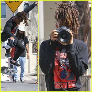 Jaden Smith Takes Pictures While Skateboarding With Friends