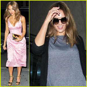 Jessica Alba Flies the Skies After 'InStyle' Dinner